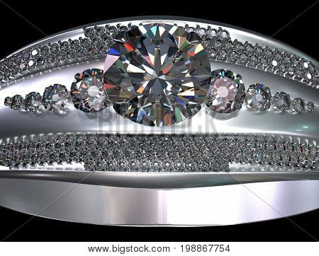 White gold engagement ring with diamond gem. Luxury jewellery bijouterie from silver or platinum with gemstone. Large diamond in center of frame. 3D rendering on black background.