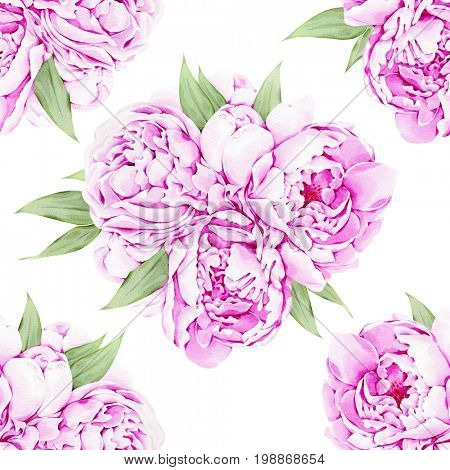 Watercolor illustration of hand painted peonies pattern
