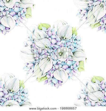 Watercolor illustration of hand painted hydrangea pattern