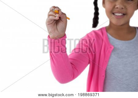 Mid section of girl pretending to write on invisible screen