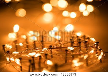 wire on network with bokeh light background