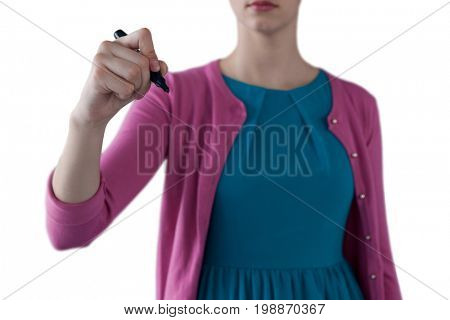 Mid section of teenage girl pretending to write on invisible screen