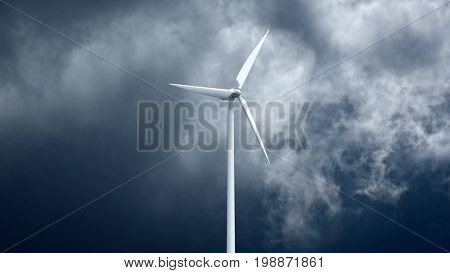 Wind power generators on sky background. 3d rendering