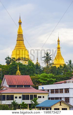 Shwedagon Pagoda of Myanmar (Burma) at sunset