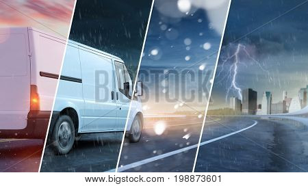 Delivery service van driving through different weather conditions and seaons (3D Rendering)