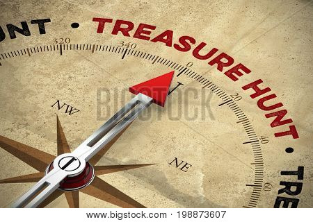 Treasure hunt on compass with old map design (3D Rendering)