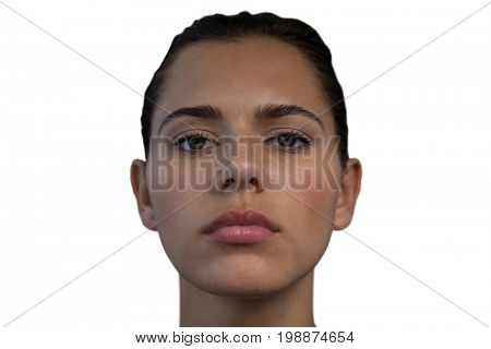 Close up of businesswoman with make up against white background