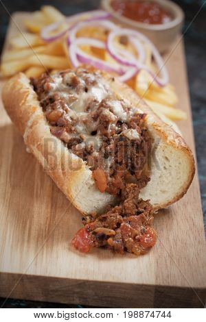 Sloppy joes ground beef and cheese sandwich served with french fries