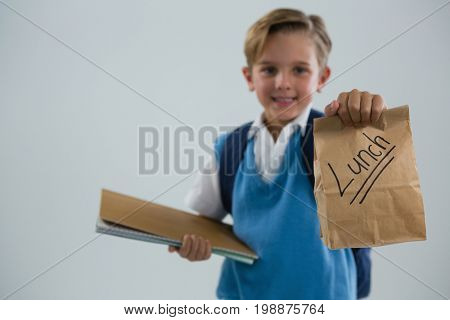 Smiling schoolboy holding book and lunch paper bag against white background