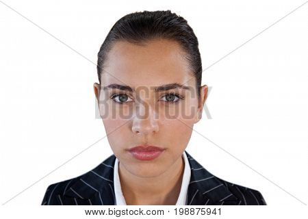 Close up portrait of young businesswoman against white background