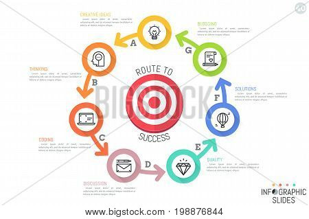 Minimal infographic design layout. Circular chart with 7 colored circles successively connected by arrows and located around target symbol. Seven features of business functioning. Vector illustration.