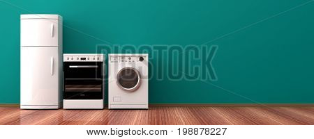 White home appliances on a wooden floor. 3d illustration
