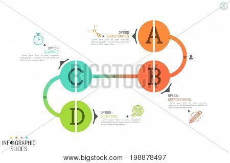 Minimalistic infographic design layout. Four round lettered elements connected by curved line. 4 steps of art product creation concept. Vector illustration for presentation, report, banner, website.