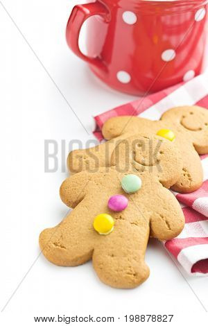 Two gingerbread men isolated on white background. Xmas gingerbread. Laughing gingerbread man.