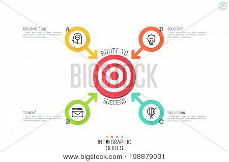 Modern infographic design layout. Four lettered circular elements with arrows pointing at target symbol in center. 4 ways to solve problem concept. Vector illustration for report, banner, website.