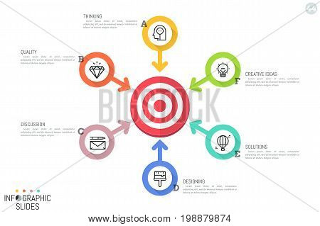 Infographic design layout. Round diagram with target central element, 6 arrows pointing at it, icons and text boxes. Six options for strategic planning concept. Vector illustration for brochure.