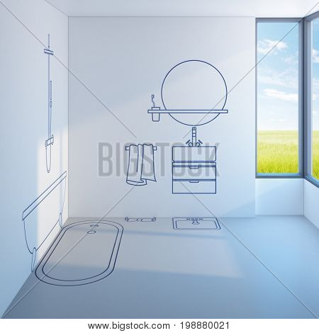 bathroom planning design, 3d rendering