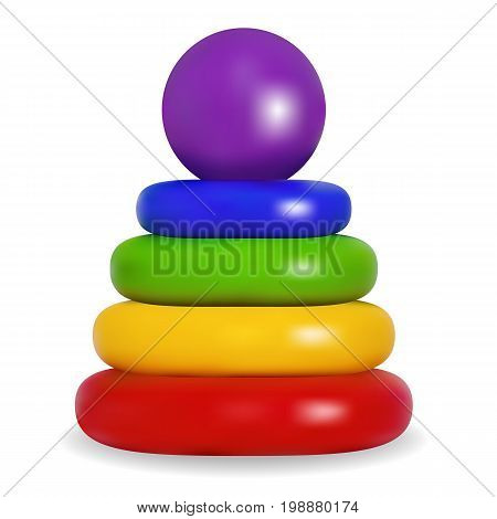 Pyramid. Developing game for children. Bright colored plastic toy. Isolated object. Vector Illustration.
