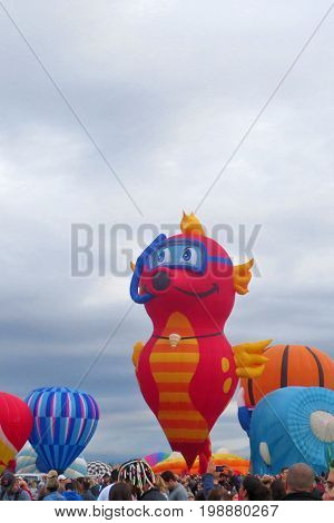 Playful Snorkeling Sea Horse Hot Air Balloon: Albuquerque, New Mexico Balloon Fiesta October 4, 2015