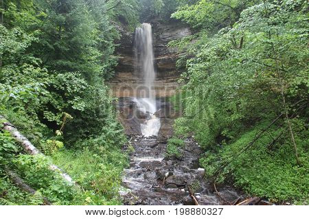 Munising Falls located in Pictured Rocks National Lakeshore, Upper Peninsula of Michigan