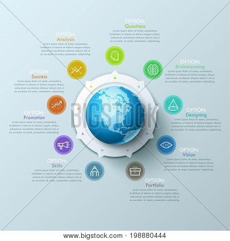 Beautiful infographic design layout with sphere in center, 9 arrows pointing at line symbols and text boxes. Nine qualities of international design company concept. Vector illustration for website.