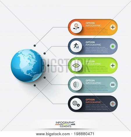 Modern infographic design template. Planet connected with 5 rounded text boxes and thin line icons. Five features of global cooperation concept. Vector illustration for report, presentation, website.