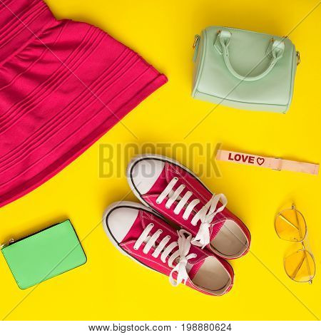 Vintage girly fashion objects in a flat lay composition