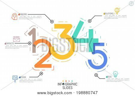 Creative Infographic design template, five colorful figures connected with icons and text boxes. Mathematics and calculation concept. Vector illustration for presentation, report, brochure, website.