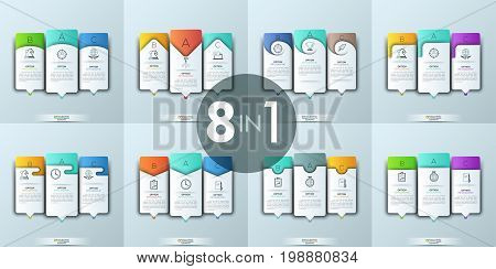 Collection of 8 modern infographic templates. Three lettered rectangular elements of different design with icons, text boxes and pointers. Company main advantages concept. Vector illustration.