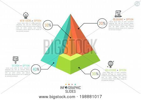Pyramid divided into 4 parts of different color, percentage indication, thin line icons and text boxes. Simple infographic design template. Cutaway diagram concept. Vector illustration for brochure.
