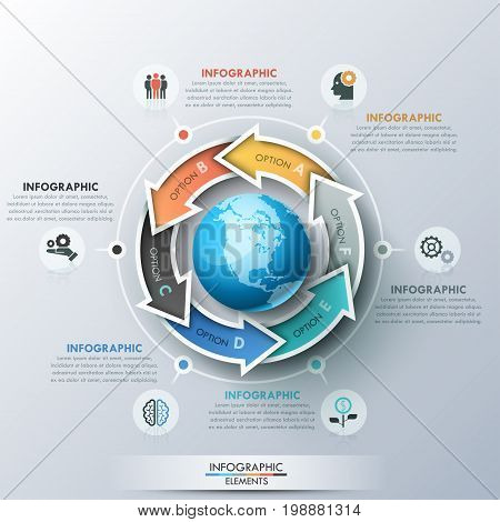 Unique infographic design layout with 6 lettered arrows placed around planet Earth, icons and text boxes. Features of multinational corporation concept. Vector illustration for presentation, website.