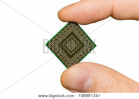 Computer chip picture in hand isolated on white background