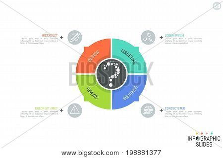 Circular diagram divided into 4 colorful sectors with arrows pointing at text boxes. Simple infographic design template. Vector illustration for presentation, report, website, banner, brochure.