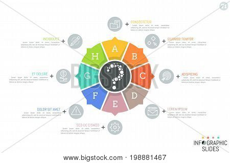Round chart divided into 8 lettered sectors with arrows pointing at thin line pictograms and text boxes. Minimalistic infographic design template. Vector illustration for brochure, presentation.