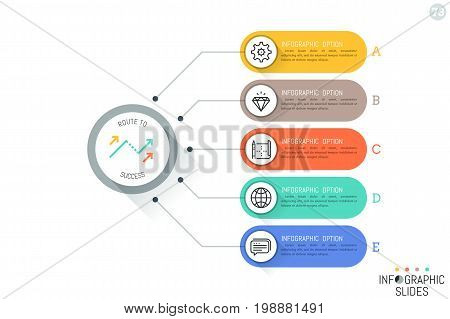 Five rounded rectangles connected with main circular element, thin line icons and text boxes. Steps to product release concept. Simple infographic design template. Vector illustration for website.