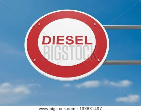 German Traffic Sign Environmental Protection Concept: Diesel Cars Prohibited Driving Ban 3d illustration