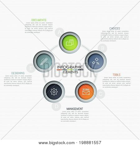 Round chart with 5 connected circular elements, linear icons and text boxes. Five features of successful startup concept. Creative infographic design layout. Vector illustration for presentation.