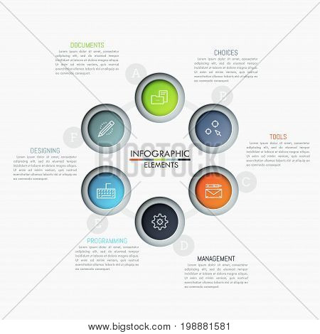 Round diagram with 6 lettered circular elements, thin line icons and text boxes. Supply chain visualization concept. Unusual infographic design template. Vector illustration for presentation, website.