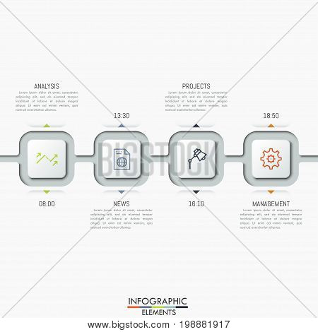 Four connected square elements with icons, text boxes and time indication. Business planning and scheduling concept. Modern infographic design template. Vector illustration for planner, website.