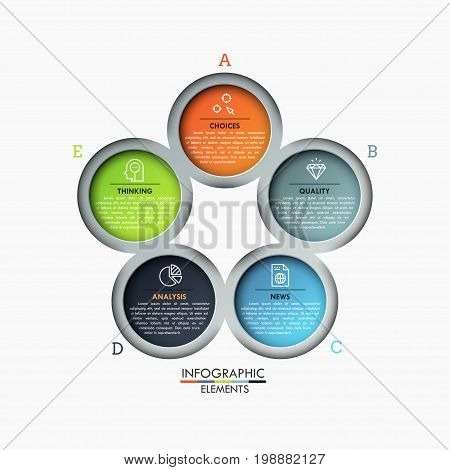 Flower petal diagram, 5 colorful round elements with symbols and text boxes inside. Strategic decision-making process visualization concept. Infographic design layout. Vector illustration for website.