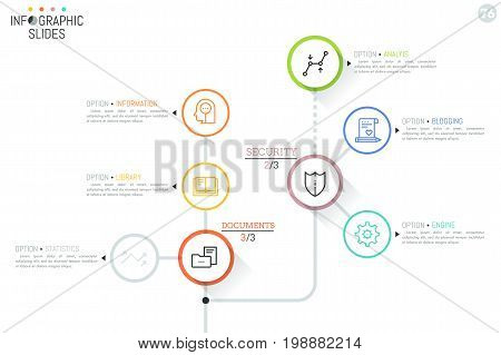 Workflow chart with round elements, icons and text boxes connected by lines. Task completion process visualization concept. Minimal infographic design layout. Vector illustration for website, report.