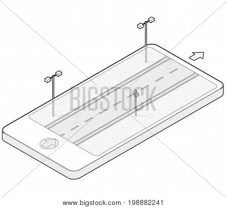 Outlined isometric road in mobile phone. Roadway transportation in communication technologies, paraphrase. Highway with street lamps, traffic sign, isolated on white background. Vector transportation building.