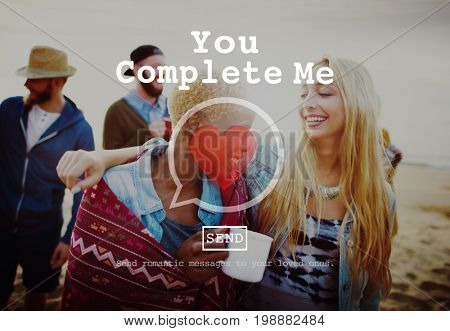 You Complete Me Fulfill Valentine Romance Love Heart Dating Concept