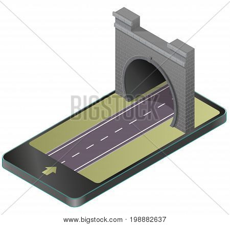 Vector low poly stone tunnel with asphalt road in mobile phone, isometric perspective. Old stone gray circular tunnel in communication technology, paraphrase. Isolated illustration on white background