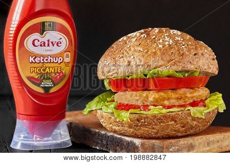 ROME ITALY - AUGUST 7 2017: Ketchup Calve used as condiment for a traditional hamburger recipe. The Calve brand was born in 1898 by the entrepreneur Mr. Van Marken.
