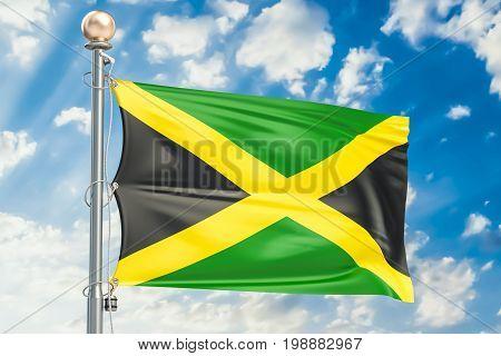 Jamaica flag waving in blue cloudy sky 3D rendering