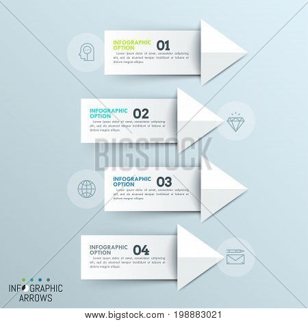 Four paper white numbered arrows pointing at thin line icons. Minimalistic infographic design template. 4 directions of business development concept. Vector illustration for brochure, banner, report.