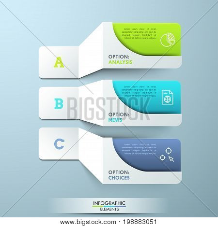 Three lettered paper white elements with pictograms and colorful text boxes. Creative infographic design template. 3 main features of provided service concept. Vector illustration for presentation.