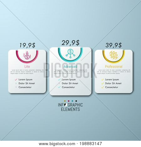 3 rounded rectangles with price indication, icons, place for information and check list. Pricing and subscription plans concept. Elegant infographic design template. Vector illustration for website.