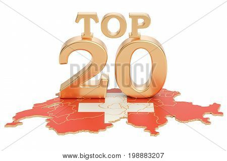 Swiss Top 20 concept 3D rendering isolated on white background
